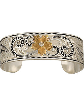 Montana Silversmiths Two-Tone Western Lace Whisper Garden Cuff Bracelet, Multi, hi-res