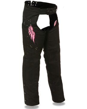 Milwaukee Leather Women's Textile Chap with Wing & Rivet Detailing - 4X, Pink/black, hi-res