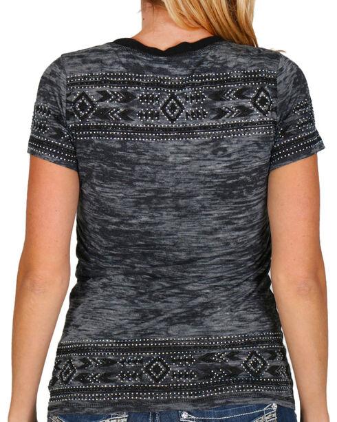Vocal Women's Aztec Burnout Short Sleeve Tee, Blue, hi-res