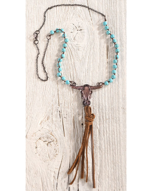 Shyanne Women's Turquoise Bead Copper Skull Necklace, Turquoise, hi-res