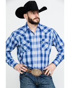 f3b1953554 Ely Cattleman Mens Textured Dobby Plaid Long Sleeve Western Shirt - Tall