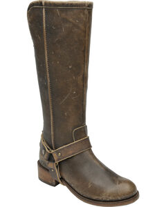 Corral Women's Distressed Brown Leather Tall Harness Boots, Brown, hi-res