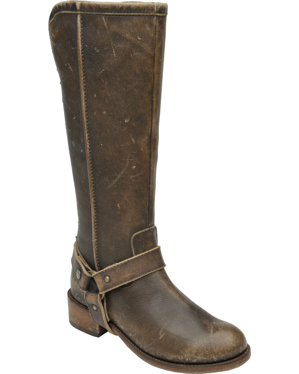 Circle G Women's Distressed Brown Leather Tall Harness Boots, , hi-res