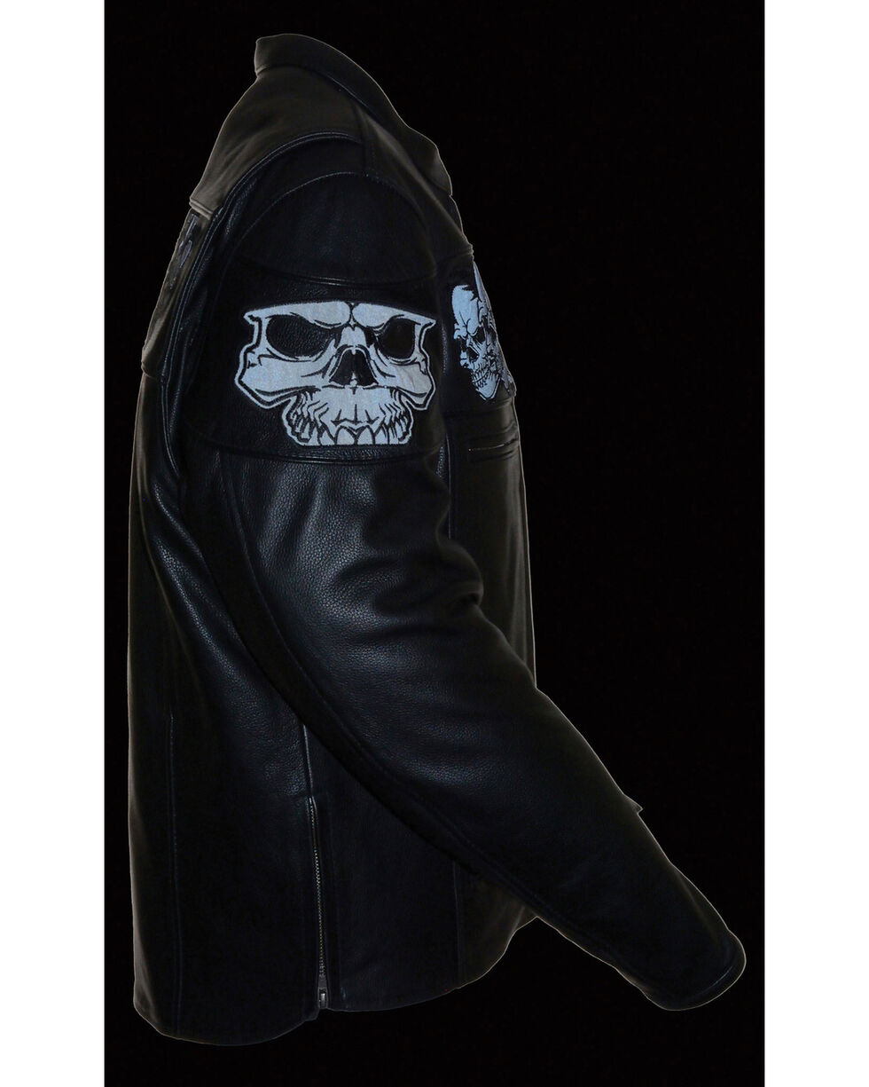 Milwaukee Leather Men's Reflective Skull Crossover Scooter Jacket, Black, hi-res