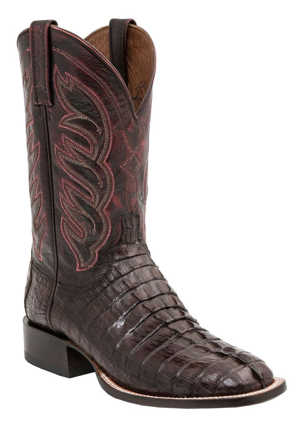 Lucchese 1883 Handmade Landon Hornback Caiman Tail Cowboy Boots - Square Toe, Barrel Brn, hi-res