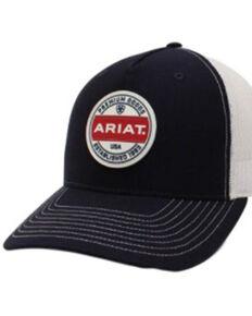 Ariat Men's Navy & White Circle Logo Patch Mesh-Back Ball Cap , Navy, hi-res