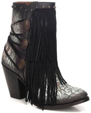 Corral Women's Black/Turquoise Fringe & Studded Booties - Round Toe, Black, hi-res