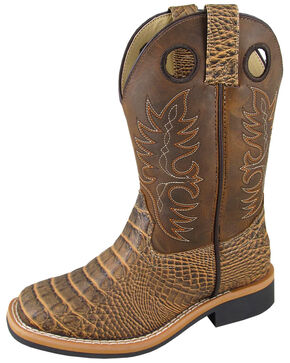 Smoky Mountain Boys' Crazy Horse Faux Gator Western Boots - Square Toe, Brown, hi-res