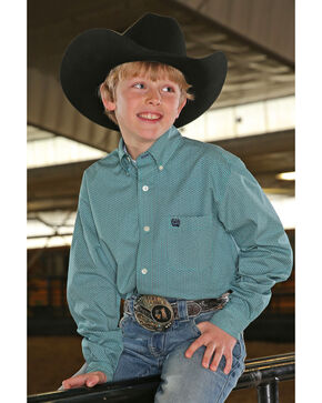 Cinch Boys' Tea Geo Print Long Sleeve Western Shirt , Teal, hi-res