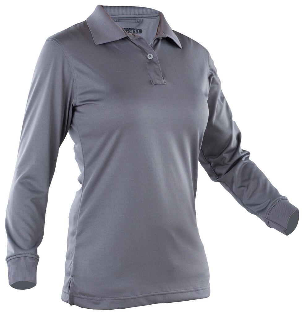 Tru-Spec Women's Dark Grey 24-7 Performance Long Sleeve Polo , Dark Grey, hi-res