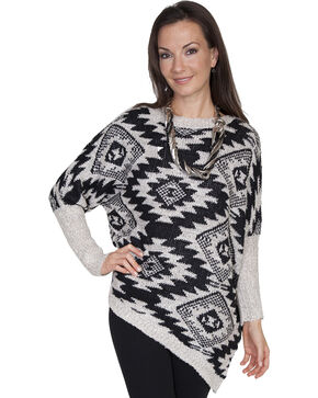 Scully Women's Asymmetrical Aztec Sweater, Black, hi-res