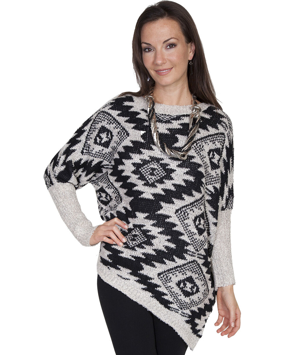 Scully Women's Asymmetrical Aztec Sweater, Black, hi-res