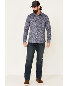 Rock & Roll Denim Men's FR Blue Paisley Print Long Sleeve Work Shirt , Indigo, hi-res