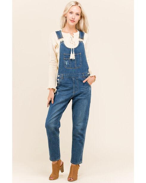 Polagram Women's Blue Denim Skinny Overalls , Blue, hi-res