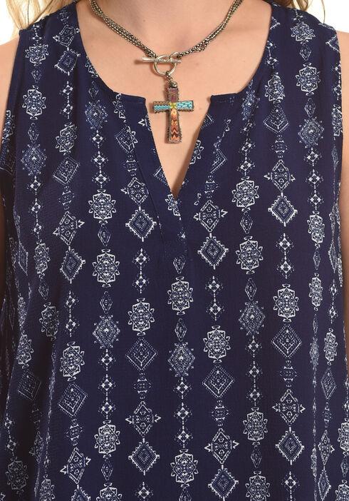 Derek Heart Women's Sleeveless Half Placket Top, Blue, hi-res