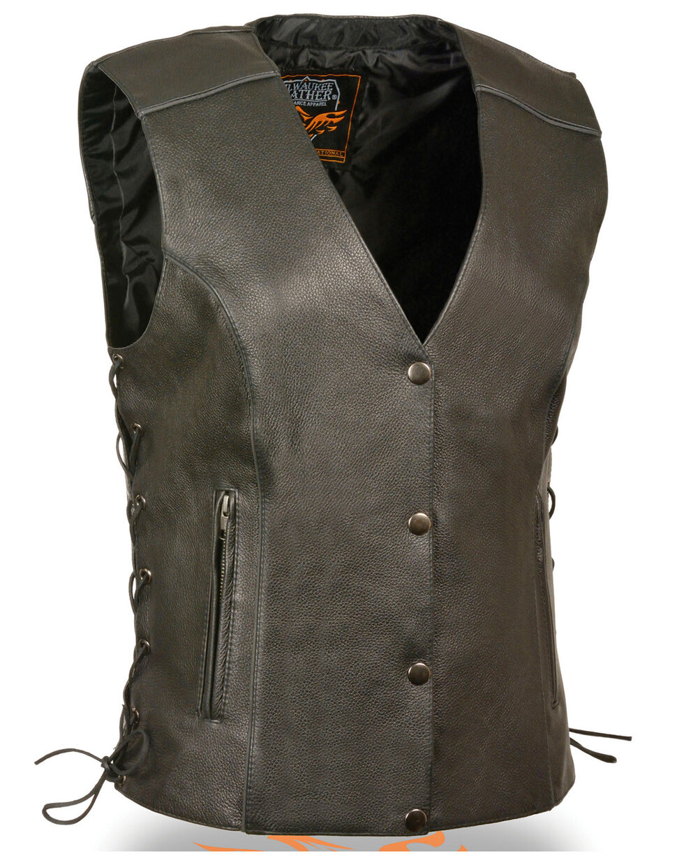 Milwaukee Leather Women's Black Side Lace Conceal Carry Vest - 4X, Black, hi-res