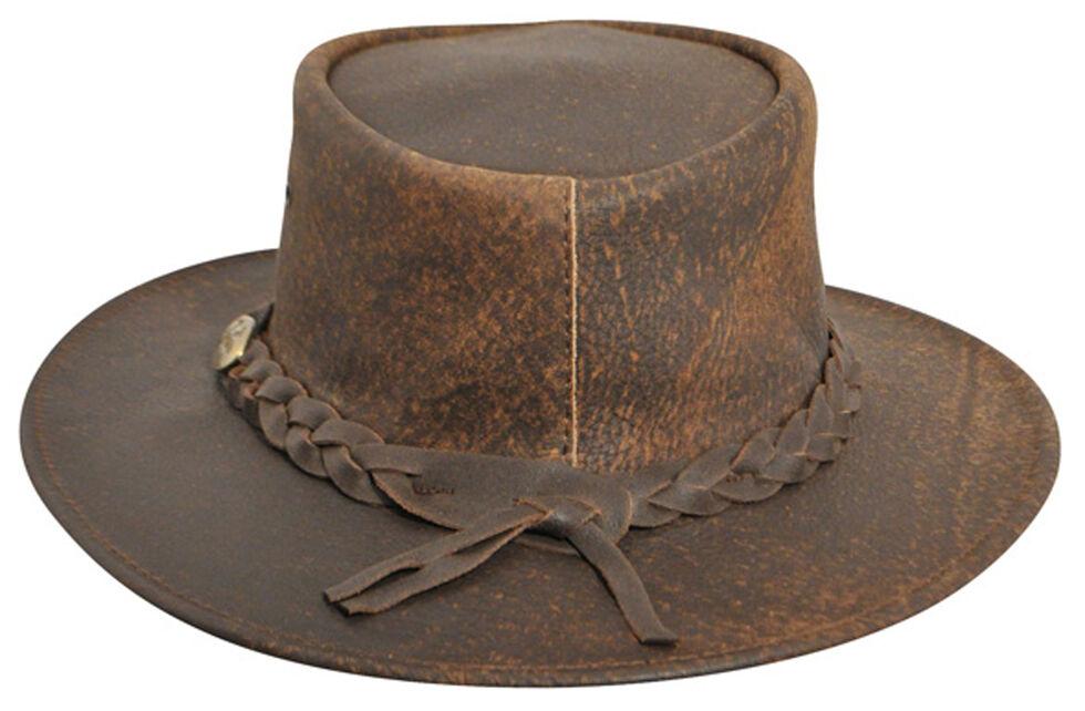 Jacaru Explorer Leather Outback Hat, Stonewash, hi-res