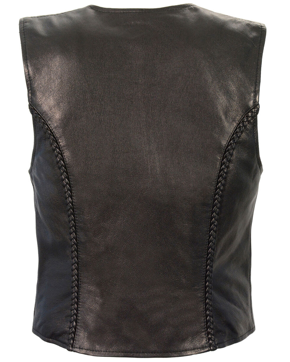 Milwaukee Leather Women's Lightweight Zipper Front Braided Vest, Black, hi-res