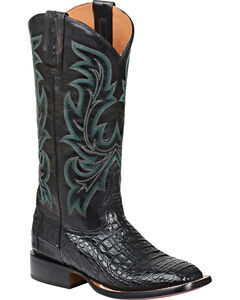 Lucchese Handmade 1883 Women's Georgia Hornback Caiman Cowgirl Boots, Black, hi-res