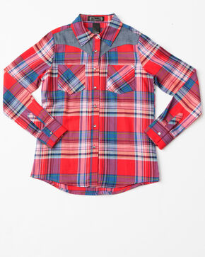 Shyanne Girls Plaid Woven Core Long Sleeve Shirt , Red, hi-res