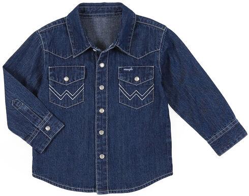Wrangler Infant & Toddler Boys' Denim Long Sleeve Shirt, Indigo, hi-res