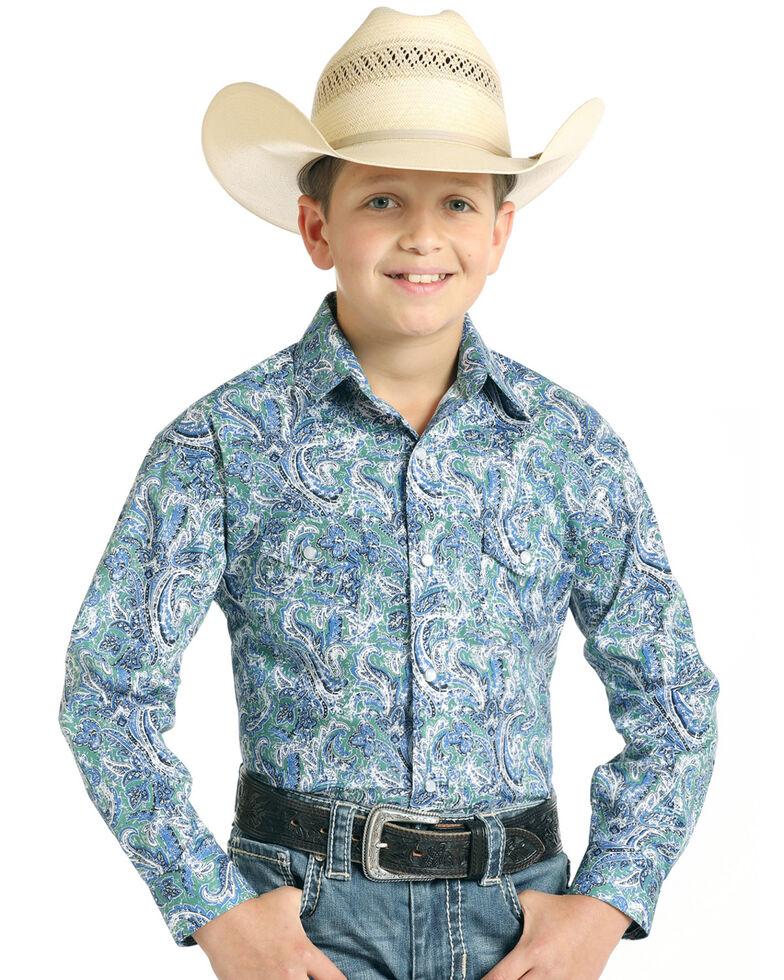 Rough Stock By Panhandle Boys' Bellaria Stretch Vintage Print Long Sleeve Western Shirt , Green, hi-res