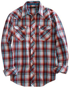 Tin Haul Men's Paintbrush Plaid Long Sleeve Western Shirt , Red, hi-res