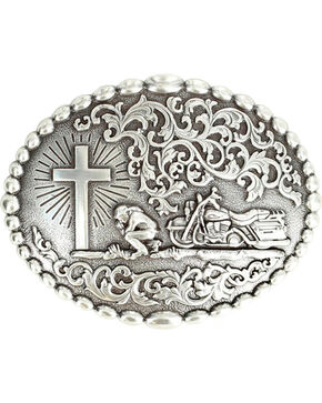 Nocona Motorcycle Prayer Scroll Buckle, Silver, hi-res
