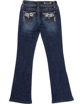 Shyanne Girls' Floral Embroidered Boot Cut Jeans , Blue, hi-res