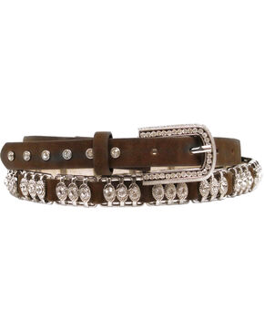 Nocona Metal Bar Crystal Belt, Med Brown, hi-res