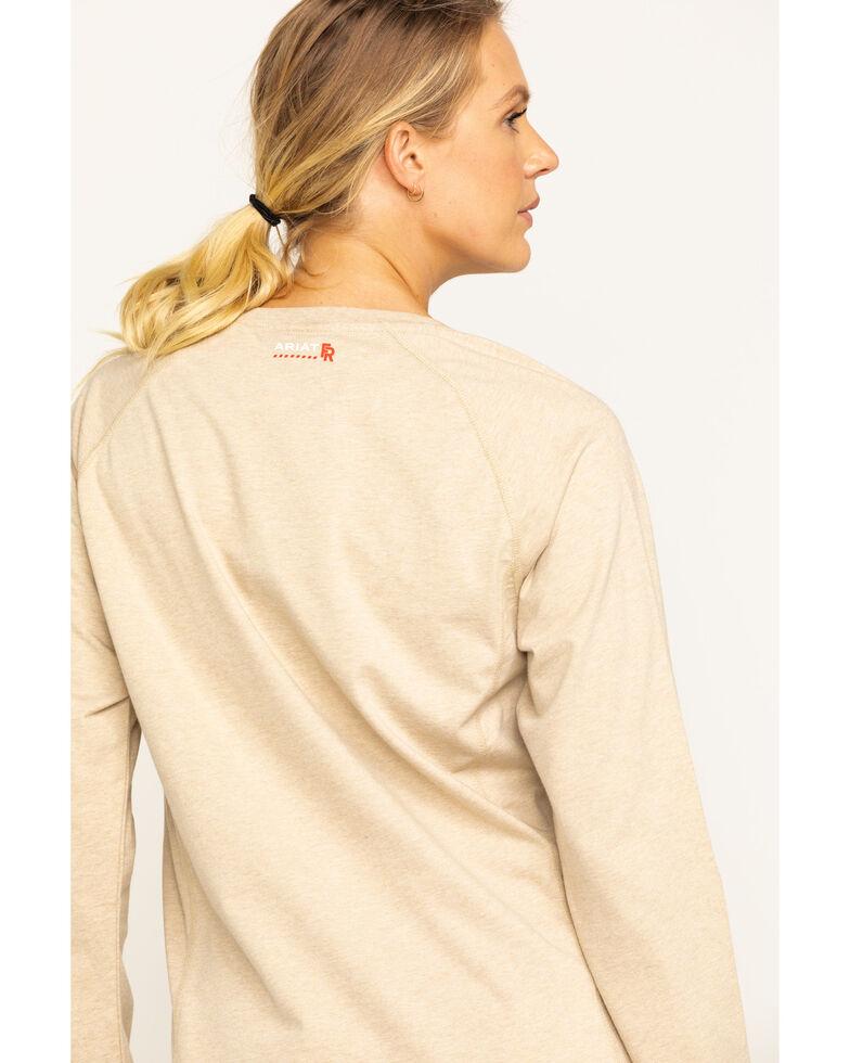 Ariat Women's FR Sand Air Crew Pocket Long Sleeve Work Tee , Sand, hi-res