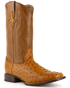 Ferrini Men's Cognac Full Quill Ostrich Cowboy Boots - Wide Square Toe, Cognac, hi-res