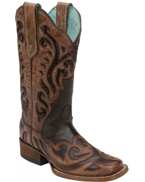 Corral Women's Sequin Inlay Cowgirl Boots - Square Toe, Chocolate, hi-res