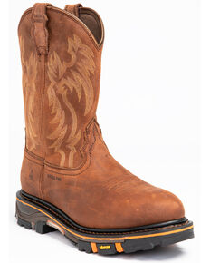 Cody James Men's Waterproof Decimator Western Work Boots - Steel Toe, Brown, hi-res