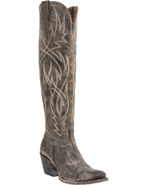 Lucchese Handmade Courtney Mad Dog Tall Boots - Round Toe, Grey, hi-res