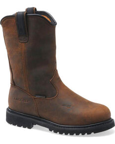 "Carolina Men's Dark Brown Line Builder INT Wellington 12"" Work Boots - Aluminum Toe, Dark Brown, hi-res"