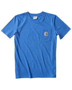 Carhartt Boys' Solid Blue Short Sleeve Pocket T-Shirt , Blue, hi-res