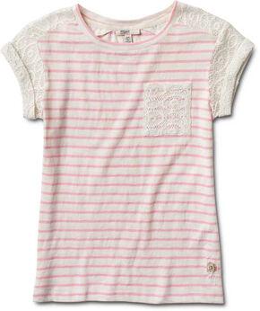 Silver Girls' Crochet Sleeve Stripe Top, Pink, hi-res