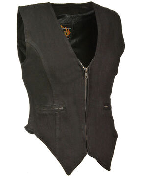 Milwaukee Leather Women's Side Stretch Zipper Front Denim Vest - 3X, Black, hi-res