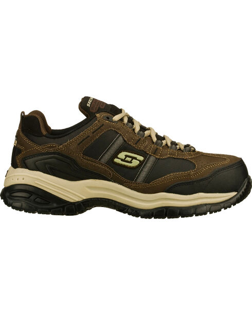 Skechers Men's Brown Soft Stride Grinnell Slip Resistant Work Shoes - Comp Toe, Brown, hi-res