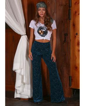 Wrangler Women's Teal Velvet Burnout Flare Pants , Multi, hi-res