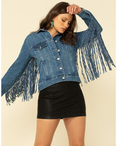 Honey Creek by Scully Women's Blue Denim Fringe Twist Jacket , Blue, hi-res