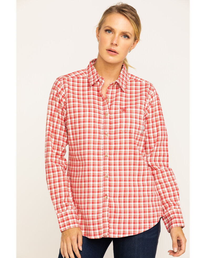 Ariat Women's FR Red Talitha Plaid Long Sleeve Work Shirt , Red, hi-res