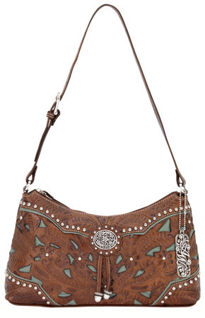 American West Lady Lace Shoulder Bag, Brown, hi-res