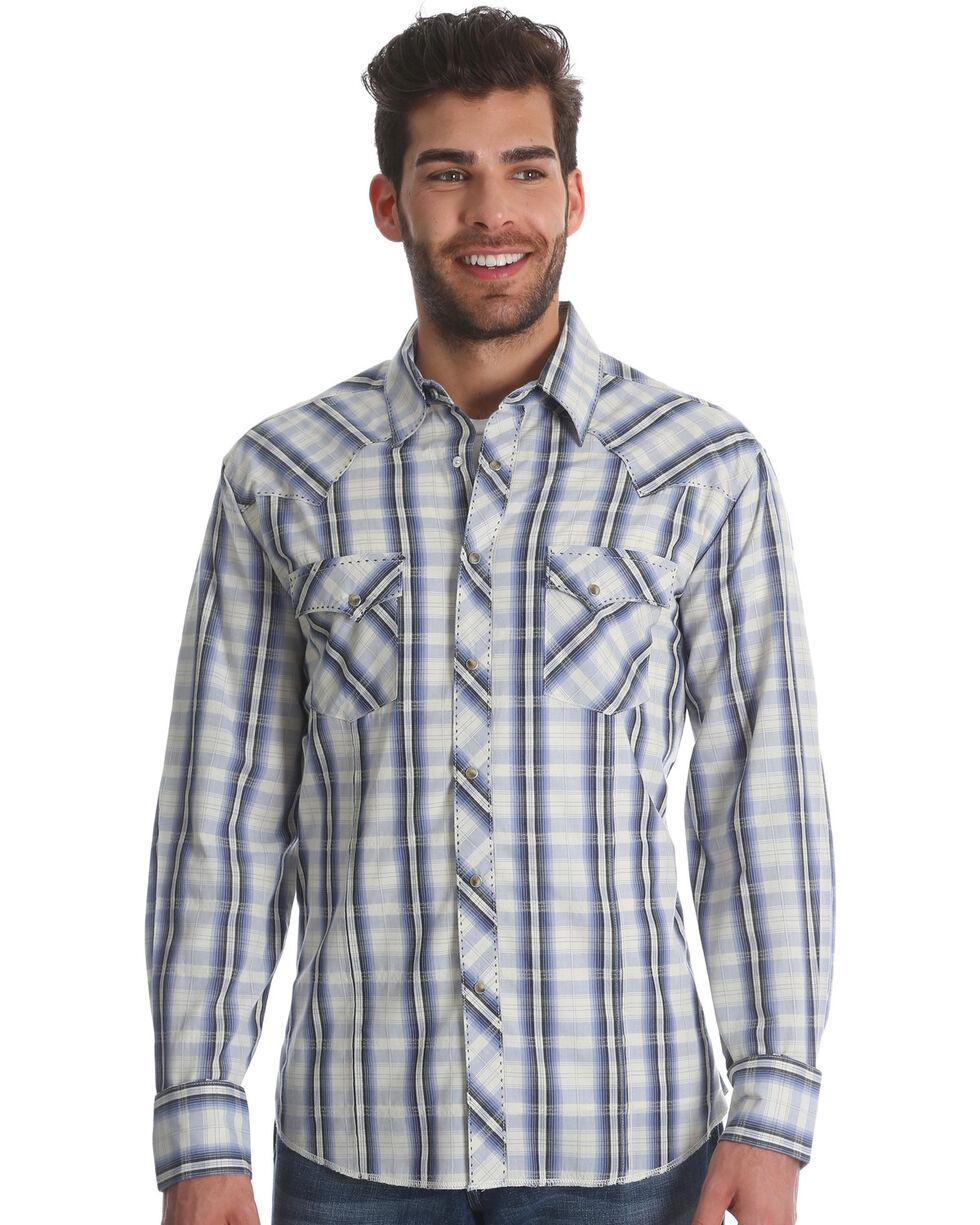 Wrangler Men's Blue/White Plaid Fashion Long Sleeve Snap Shirt, Blue, hi-res