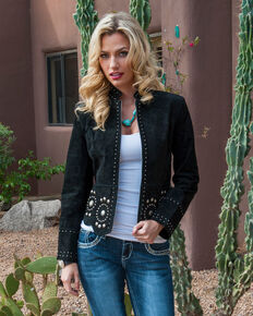 Scully Black Studded Suede Jacket, Black, hi-res