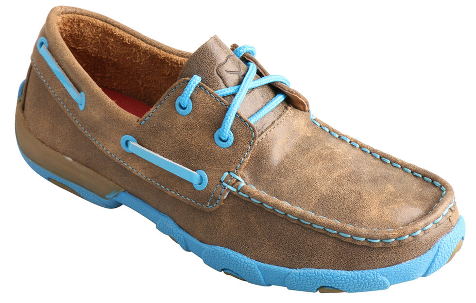Twisted X Kids' Brown and Neon Blue Driving Mocs , Bomber, hi-res