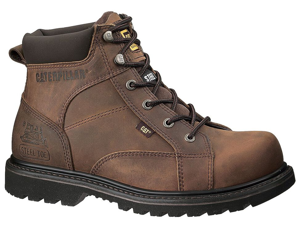 "Caterpillar 6"" Whiston Lace-Up Work Boots - Round Toe, Dark Brown, hi-res"