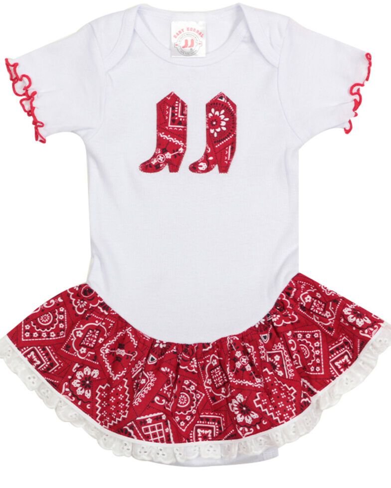 Girls' Bandana Print Infant Dress - 6-24 mos., Red, hi-res