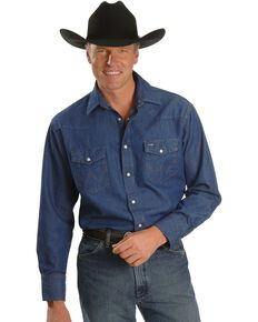 Wrangler Cowboy Cut Rigid Denim Western Work Shirt, Denim, hi-res